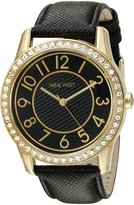 Nine West Women's NW/1730BKBK Easy To Read Swarovski Crystal Accented Gold-Tone and Leather Strap Watch