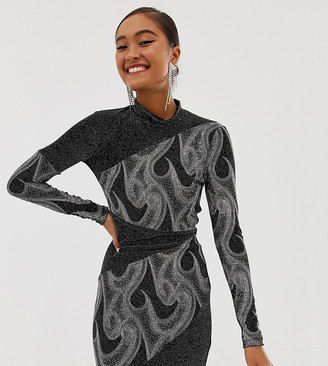 Miss Selfridge high neck glitter bodycon in black-Silver