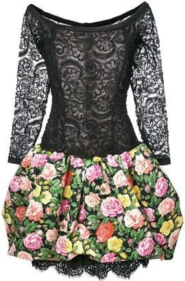 Saint Laurent Pre-Owned floral lace and print dress