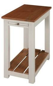 Alaterre Savannah Chairside End Table with Pull-out Shelf, Ivory with Natural Wood Top
