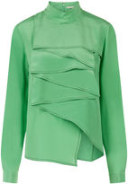 Marco De Vincenzo Green Silk Ruffle Front Shirt