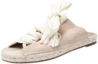 Chloé Pink Suede Harper Lace Up Flat Espadrille Slides Size 38