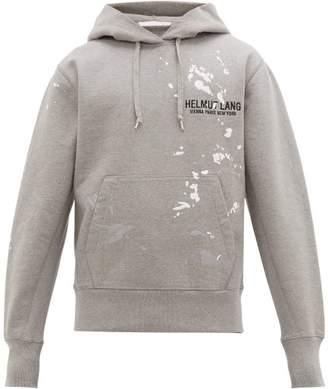 Helmut Lang Logo Embroidered Cotton Hooded Sweatshirt - Mens - Light Grey