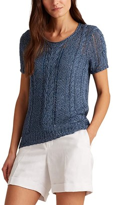 Lauren Ralph Lauren Cable Knit Linen Blend Sweater (Indigo Marl) Women's Clothing