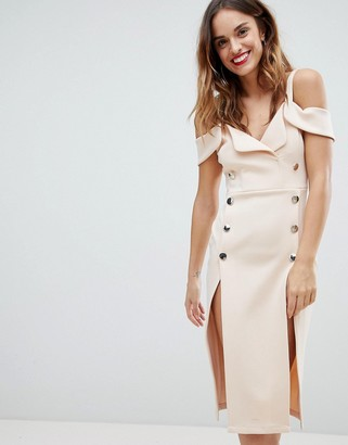 Asos Tux Cold Shoulder Button Front Midi Dress