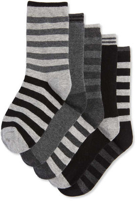 Joe Fresh Kid Boys' 5 Pack Crew Socks, JF Black (Size 11-2)