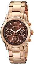 So & Co New York Madison Women's Quartz Watch with Brown Dial Analogue Display and Rose Gold Stainless Steel Bracelet 5012.4
