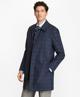 Brooks Brothers Windowpane Water-Repellent Trench Coat