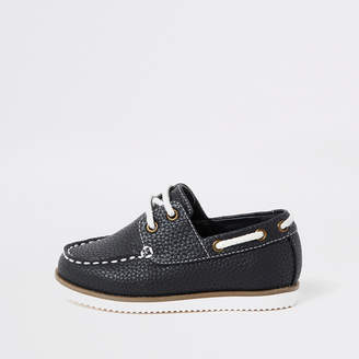 River Island Mini boys navy textured lace-up boat shoes