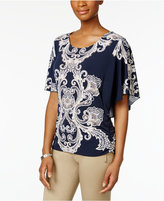 JM Collection Scroll-Print Butterfly-Sleeve Top, Only at Macy's