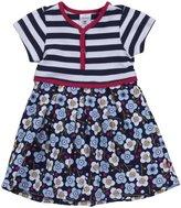 Zutano Blaue Blumen Pleated Dress (Baby) - Navy-24 Months
