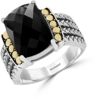 Effy Sterling Silver, Onyx & 18K Yellow Gold Wide-Band Ring