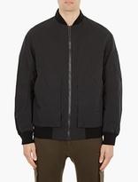 Helmut Lang Black Oversized Cotton Bomber Jacket