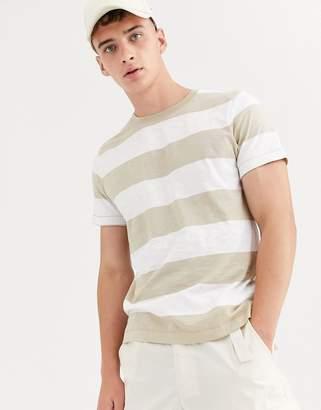 Weekday stripe t-shirt in beige/grey-White