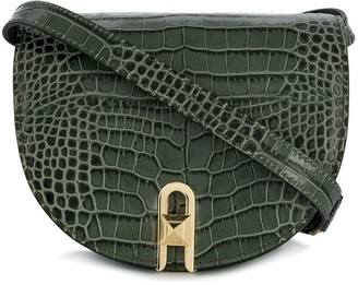Salar embossed crocodile saddle crossbody bag