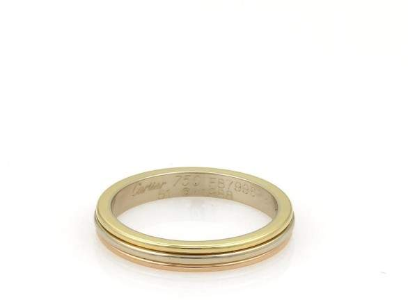 Cartier 18K Yellow White Rose Gold Triple Stack Band Ring Size 5.75