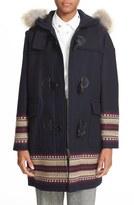 RED Valentino Toggle Coat with Genuine Coyote Fur Trim