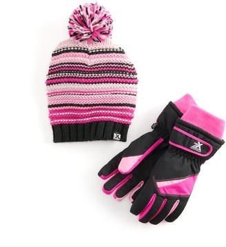 ZeroXposur Girls 4-16 Beanie Hat & Gloves Set