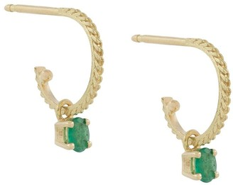 Wouters & Hendrix Gold 18kt yellow gold emerald Canale Grande hoop earrings