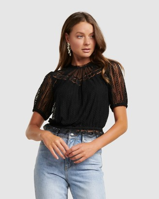 Forever New Cass Lace Yoke Dobby Crop Top