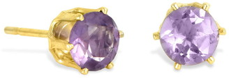 Savvy Cie 18K Yellow Gold Vermeil Prong Set Amethyst Round Stud Earrings