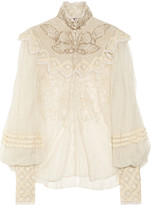 Ralph Lauren Therese embellished silk-tulle blouse