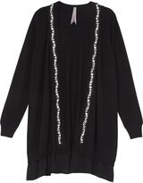 Melissa McCarthy Black Embroidered Open Cardigan - Plus