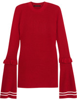 Mother of Pearl Rubi Ruffled Wool-blend Sweater - Red