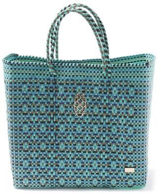 Lolas Bag Medium Turquoise Patterned Tote Bag
