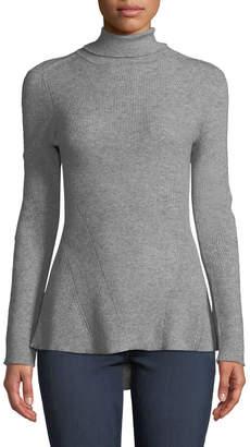 Metric Knits Asymmetric-Hem Seamed Turtleneck Sweater