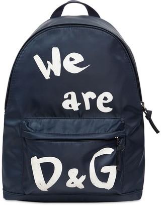 Dolce & Gabbana Flocked Logo Nylon Backpack