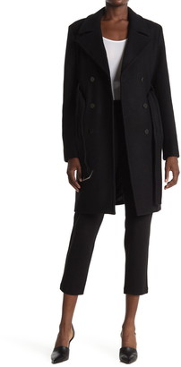 Theory Long Belted Wool Blend Peacoat