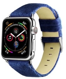 Posh Tech Men's and Women's Apple Navy Wool Velvet, Leather, Stainless Steel Replacement Band 44mm