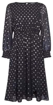 Dorothy Perkins Womens **Billie & Blossom Petite Black And Gold Spot Midi Dress, Black