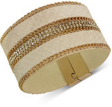 GUESS Rose Gold-Tone Faux Leather and Crystal Wrap Bracelet