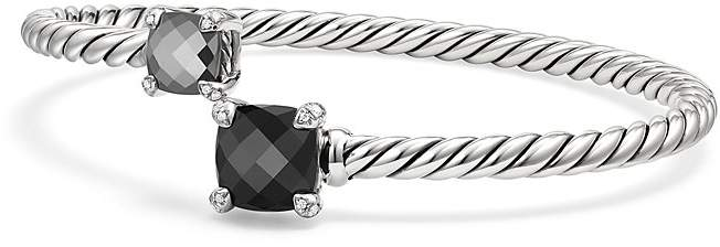 David Yurman Ch'telaine Bypass Bracelet with Black Onyx, Hematine & Diamonds