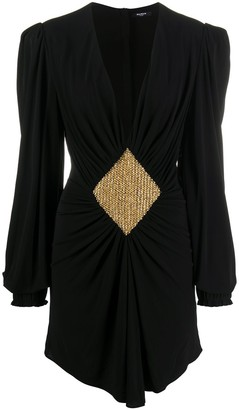 Balmain Bead-Embellished Gathered Dress