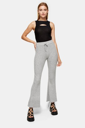 Topshop Womens Grey Marl Knitted Flare Trousers With Wool - Grey Marl