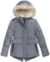 London Fog Expedition Parka with Faux-Fur Trim, Big Girls (7-16)