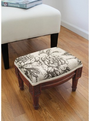 123 Creations Grey Peony Footstool with wood stained finish