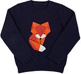 Barneys New York Fox Cashmere Sweater-NAVY, ORANGE