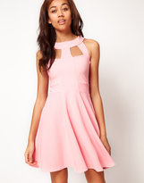 Sleeveless Skater Dress With Cut Out Detail