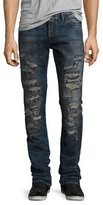 PRPS Demon Slashed 3D Crinkle Denim Jeans, Indigo