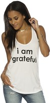 Peace Love World I am Grateful® White Boyfriend Tank
