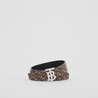 Burberry Reversible Monogram Print E-canvas and Leather Belt