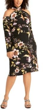 Rachel Roy Trendy Plus Size Cold-Shoulder Crisscross Halter Dress