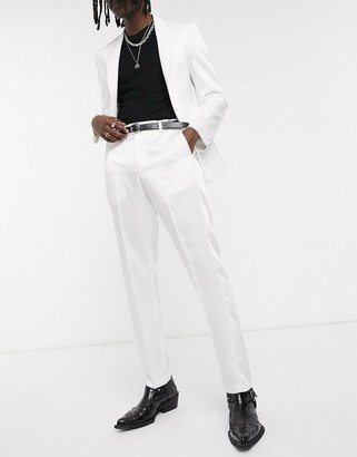 ASOS DESIGN skinny tuxedo suit pants in white with high shine panels