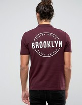 Asos Pique Polo Shirt With Brooklyn Chest and Back Print