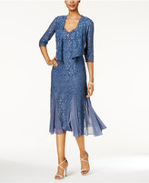 Alex Evenings Petite Lace Dress and Draped Jacket