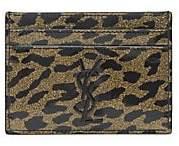Saint Laurent Women's Monogram Leopard-Print Patent Leather Card Case